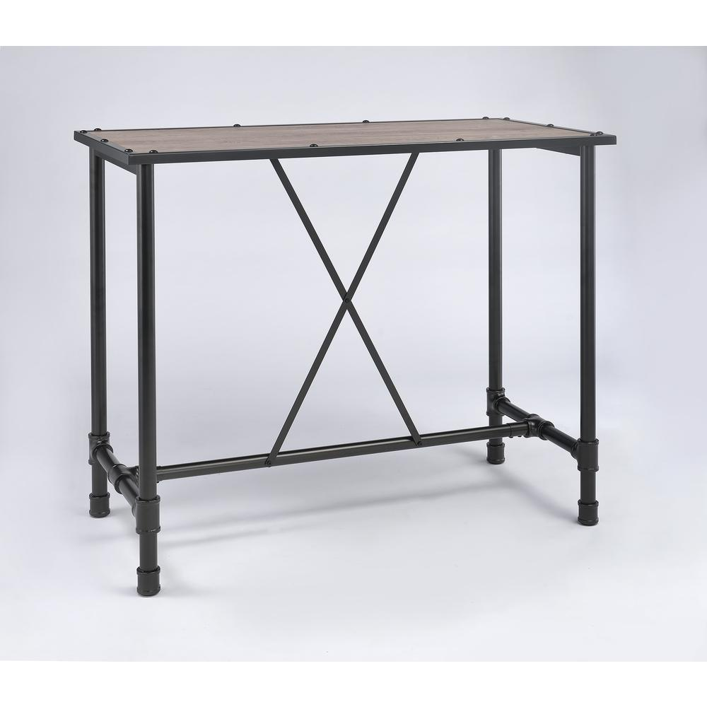 Caitlin Bar Table, Rustic Oak & Black. Picture 1