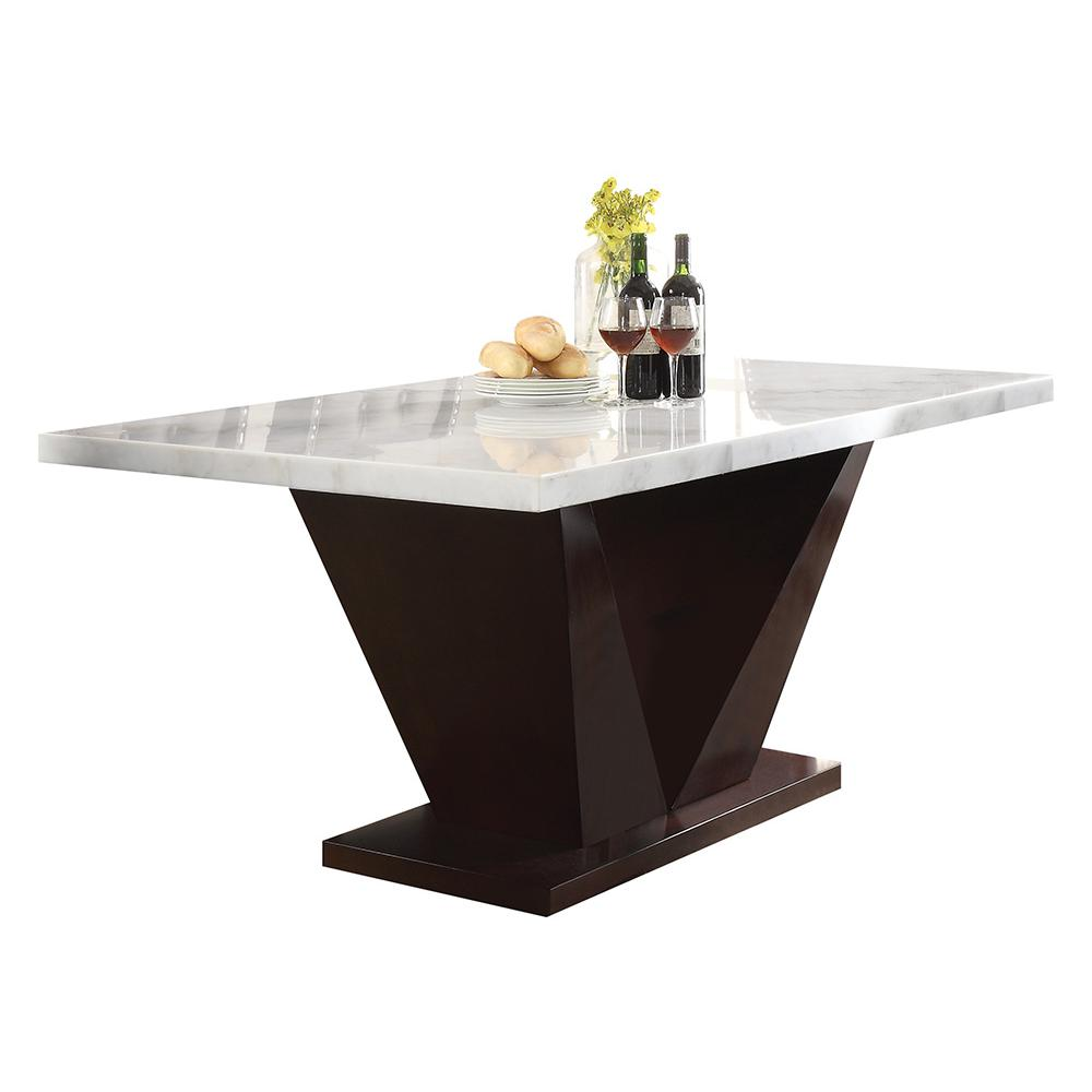 Forbes Dining Table, White Marble & Walnut (1Set/2Ctn). Picture 1