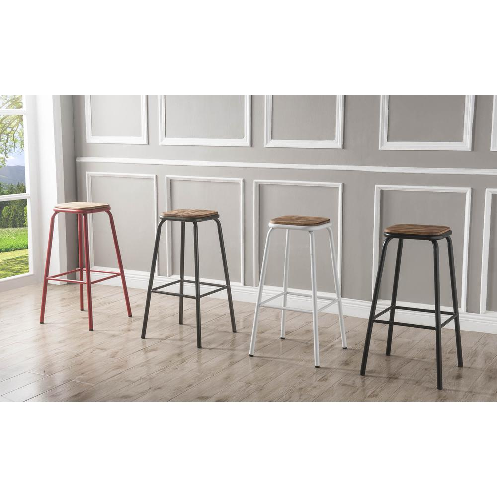 """Scarus Bar Stool (Set-2), Natural & Red, 30"""" Seat Height. Picture 4"""