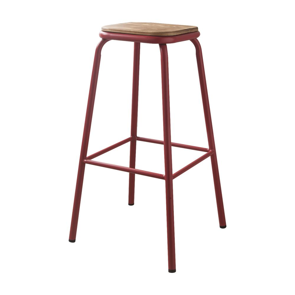 """Scarus Bar Stool (Set-2), Natural & Red, 30"""" Seat Height. Picture 7"""