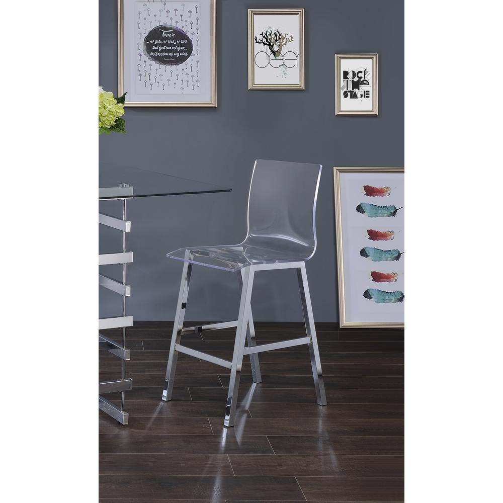 Nadie Counter Height Chair (Set-2), Clear Acrylic & Chrome. Picture 3