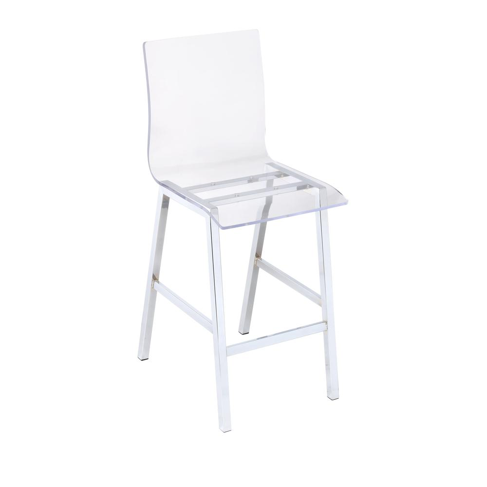Nadie Counter Height Chair (Set-2), Clear Acrylic & Chrome. Picture 1