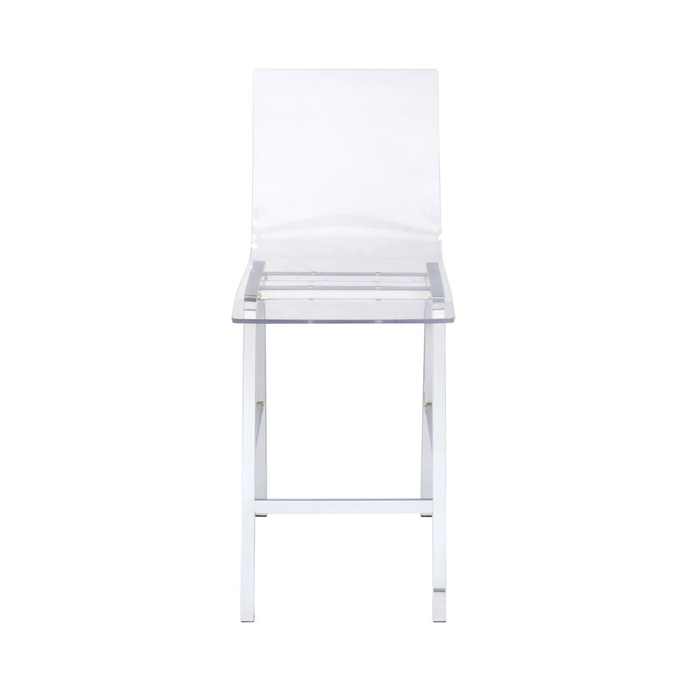 Nadie Counter Height Chair (Set-2), Clear Acrylic & Chrome. Picture 2
