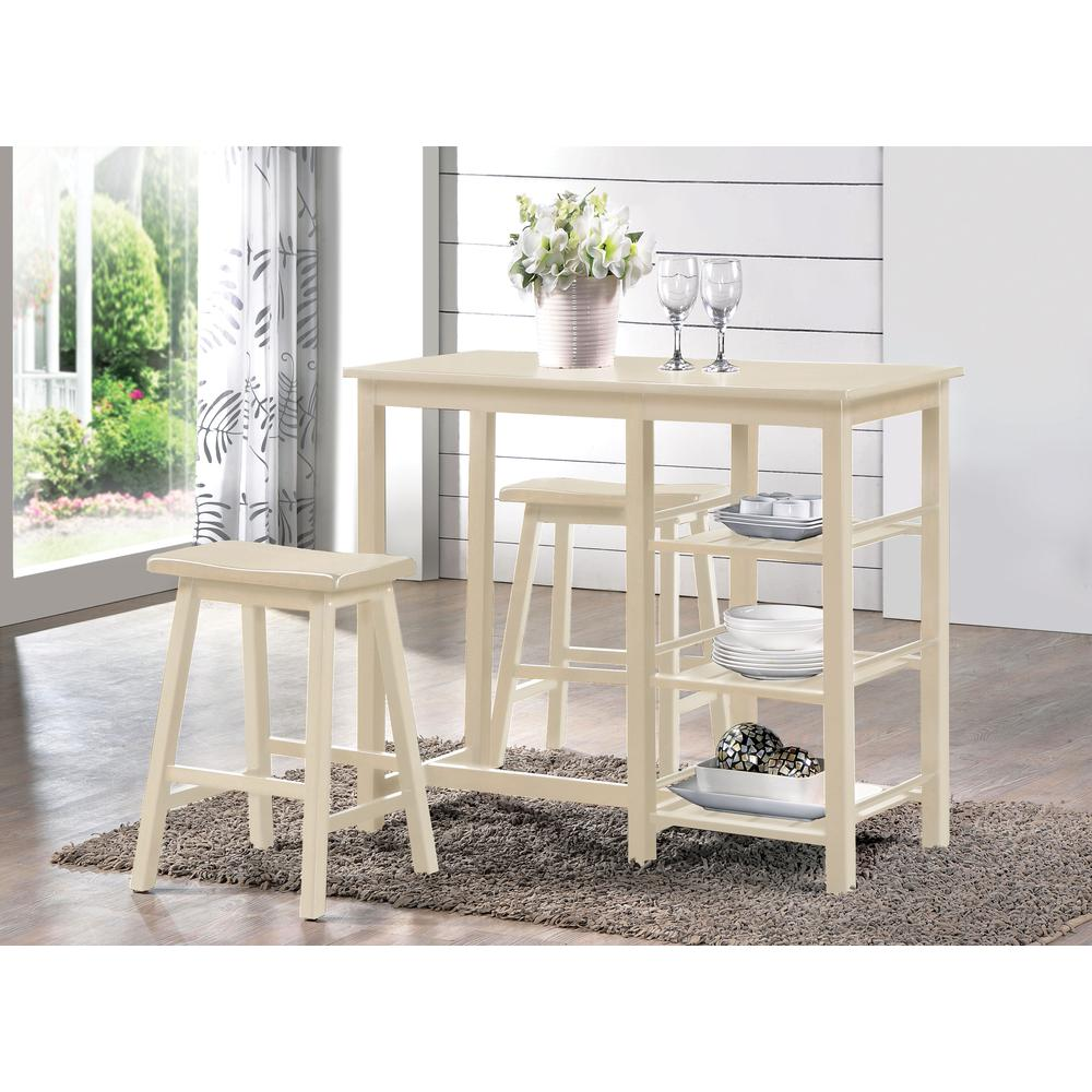 Nyssa 3Pc Pack Counter Height Set, Buttermilk. Picture 1