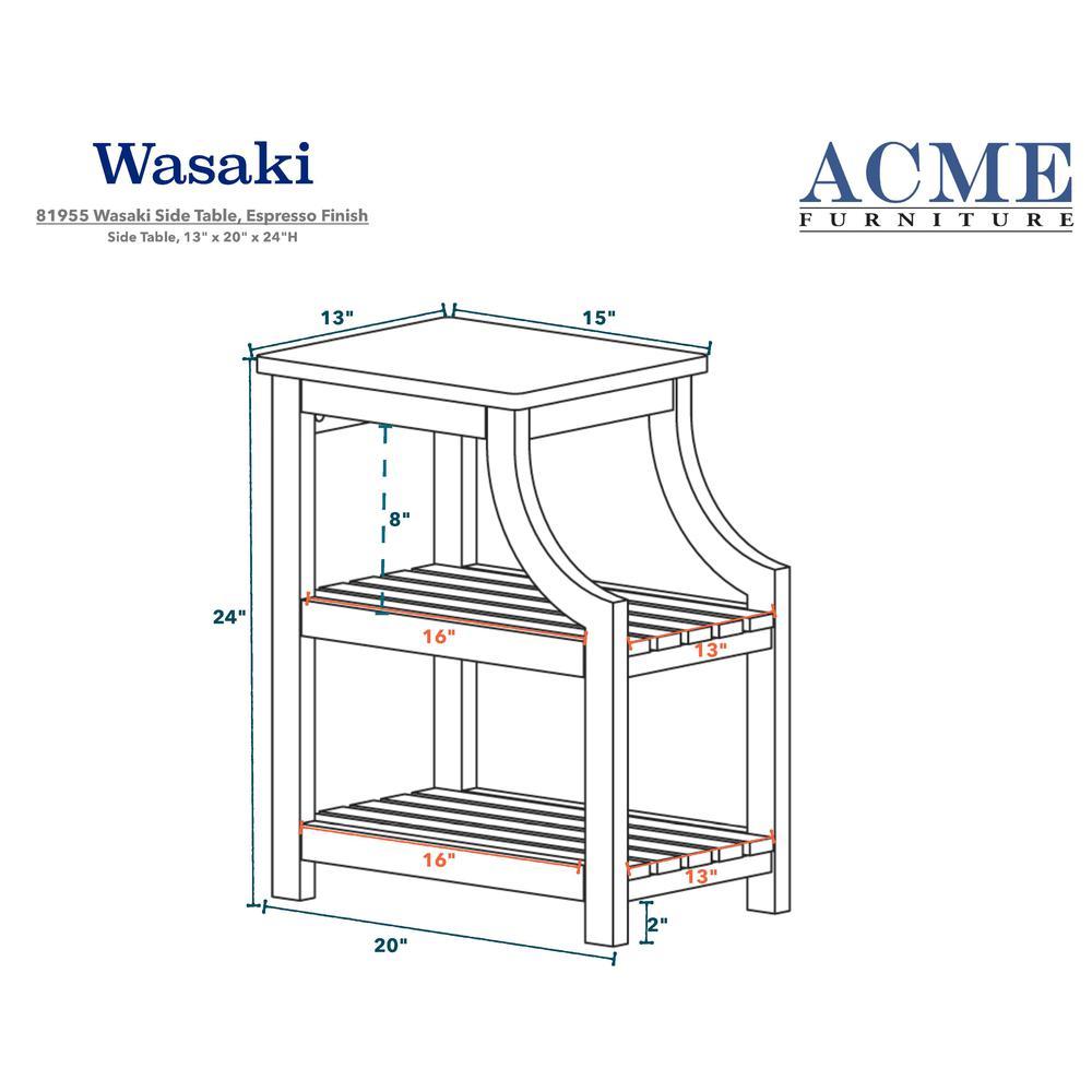 Wasaki Side Table (USB), Espresso. Picture 3