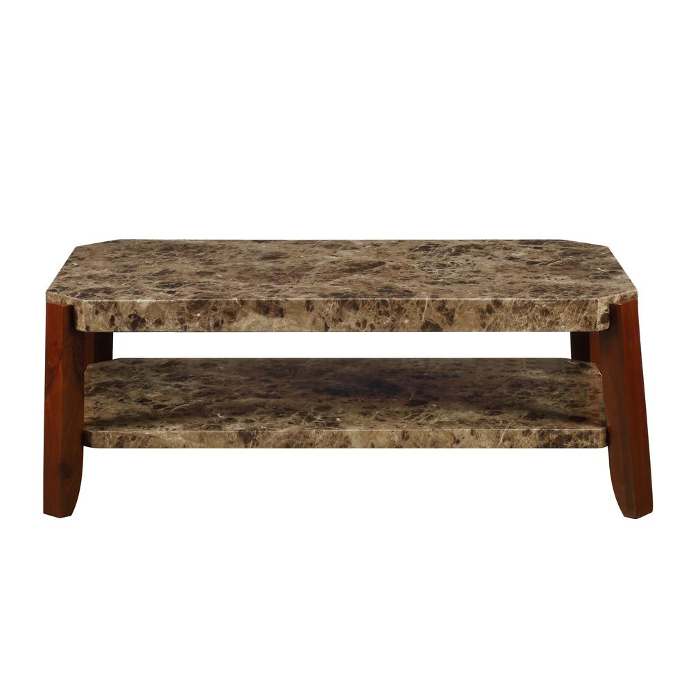 Dacia Coffee Table, Faux Marble & Brown. Picture 4