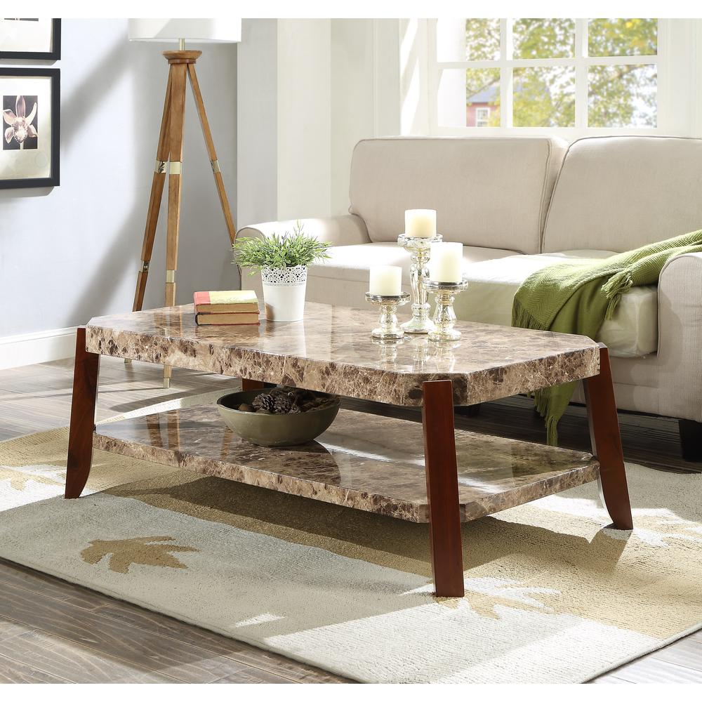 Dacia Coffee Table, Faux Marble & Brown. Picture 5