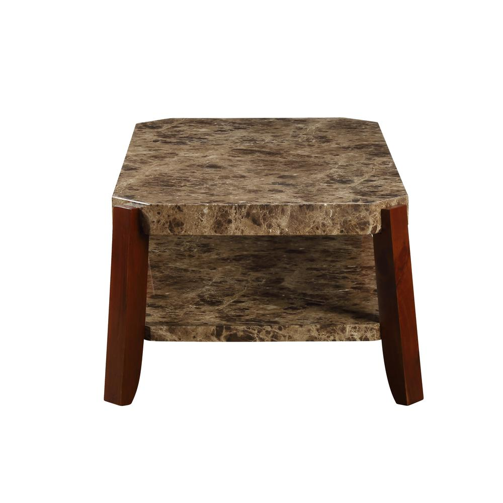 Dacia Coffee Table, Faux Marble & Brown. Picture 6