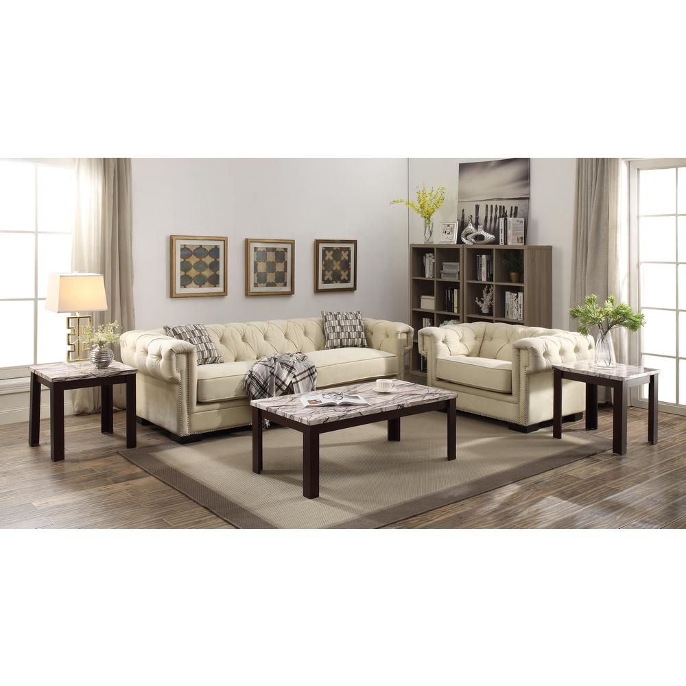 Carly 3Pc Pack Coffee/End Table Set, Faux Marble & Cherry. Picture 1