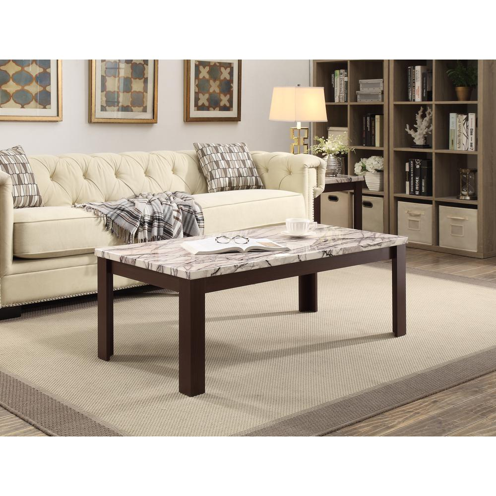 Carly 3Pc Pack Coffee/End Table Set, Faux Marble & Cherry. Picture 4