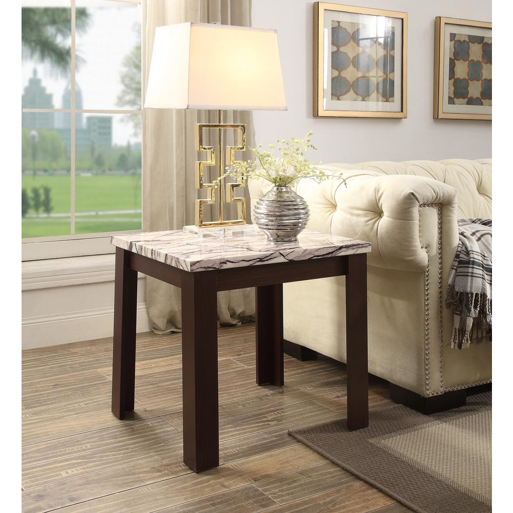Carly 3Pc Pack Coffee/End Table Set, Faux Marble & Cherry. Picture 6