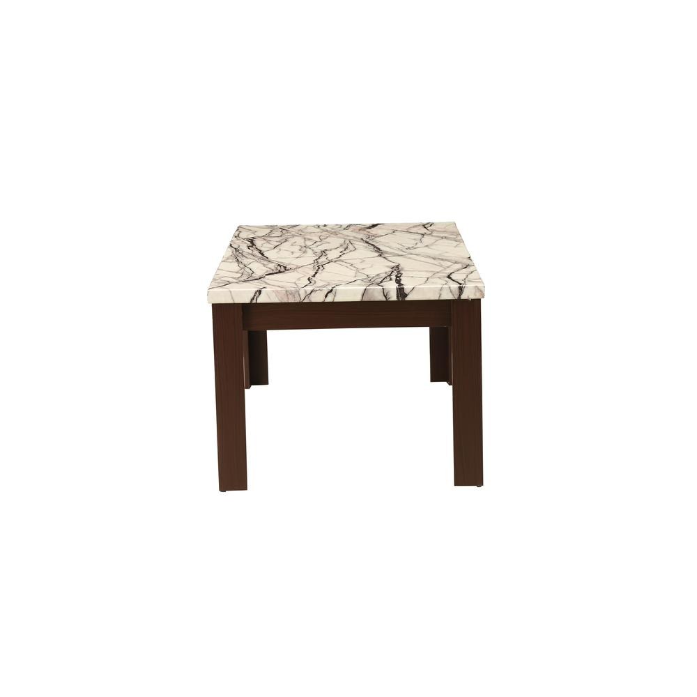 Carly 3Pc Pack Coffee/End Table Set, Faux Marble & Cherry. Picture 7