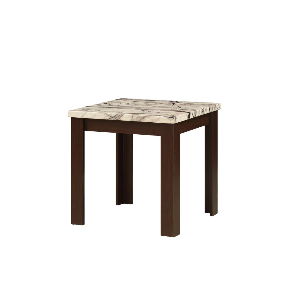 Carly 3Pc Pack Coffee/End Table Set, Faux Marble & Cherry. Picture 9