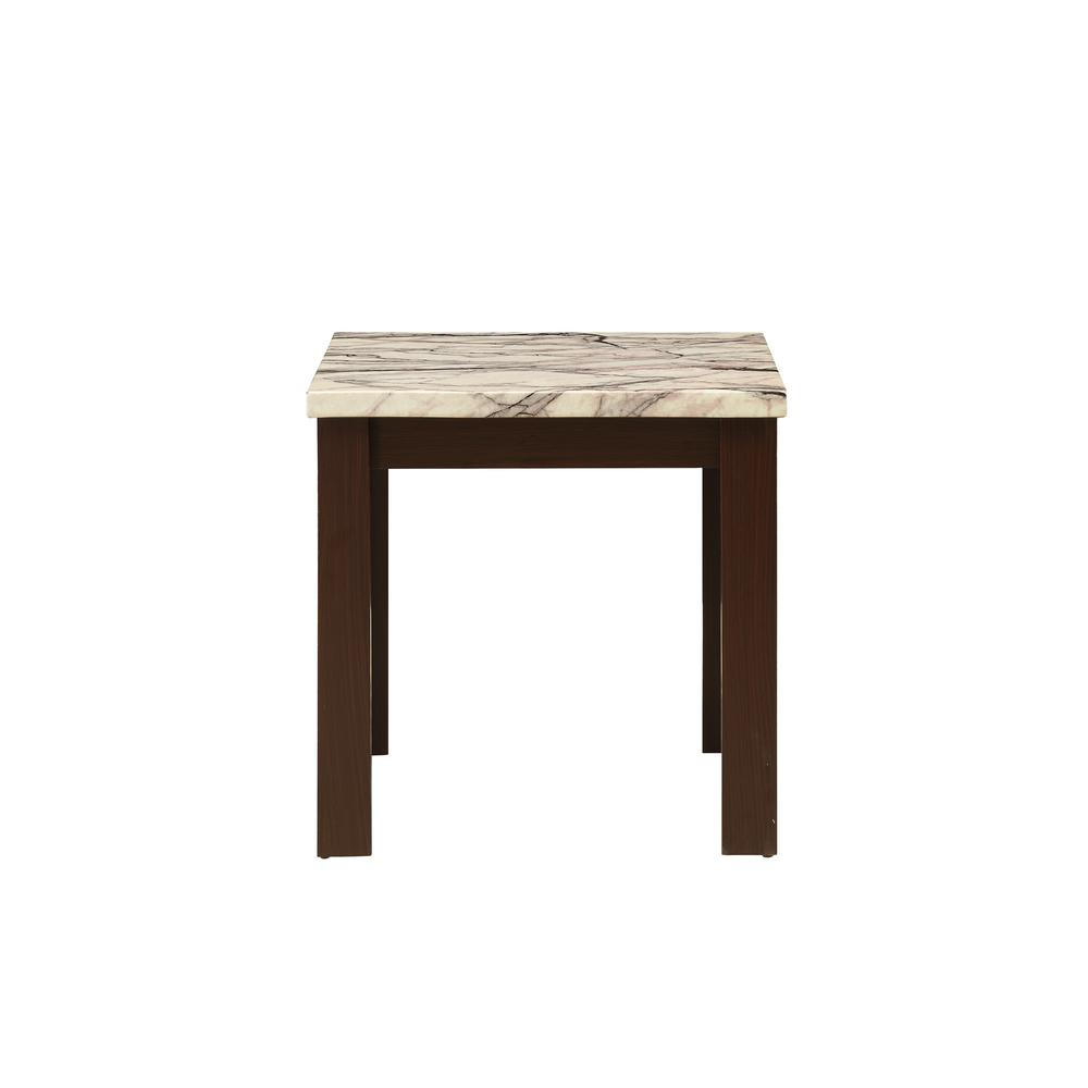 Carly 3Pc Pack Coffee/End Table Set, Faux Marble & Cherry. Picture 10