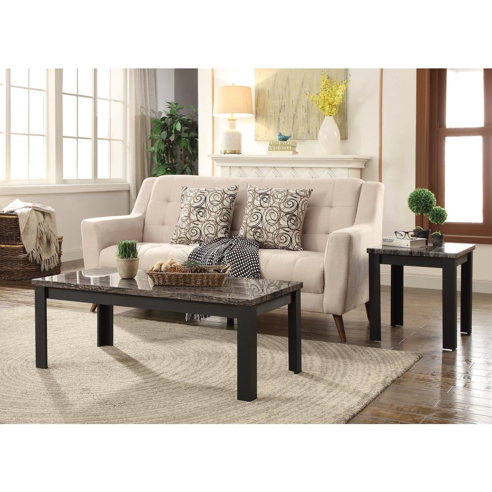 Carly 3Pc Pack Coffee/End Table Set, Faux Marble & Cherry. Picture 11