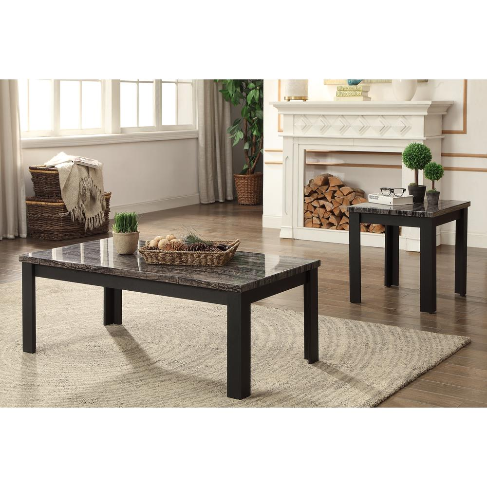 Carly 3Pc Pack Coffee/End Table Set, Faux Marble & Cherry. Picture 12
