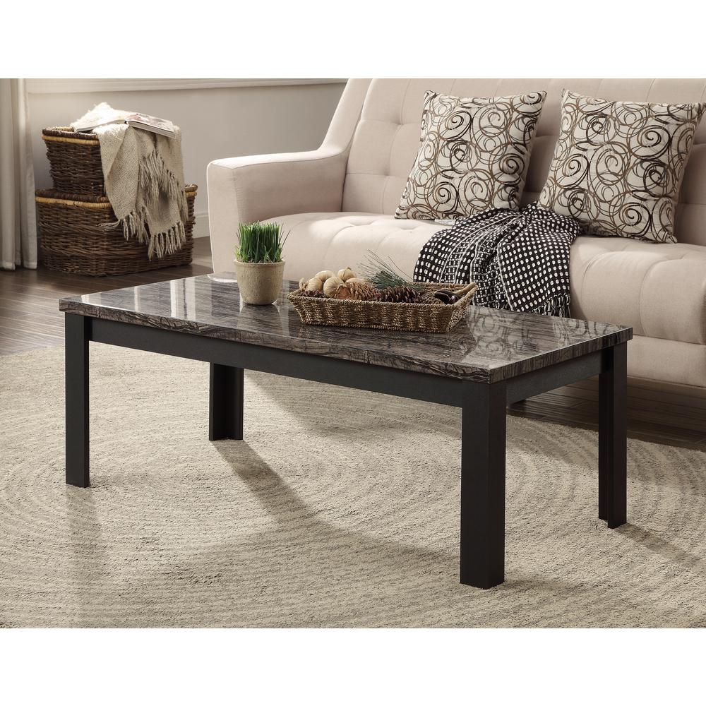 Carly 3Pc Pack Coffee/End Table Set, Faux Marble & Cherry. Picture 14