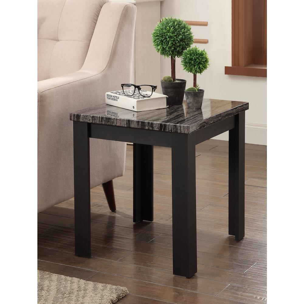 Carly 3Pc Pack Coffee/End Table Set, Faux Marble & Cherry. Picture 15