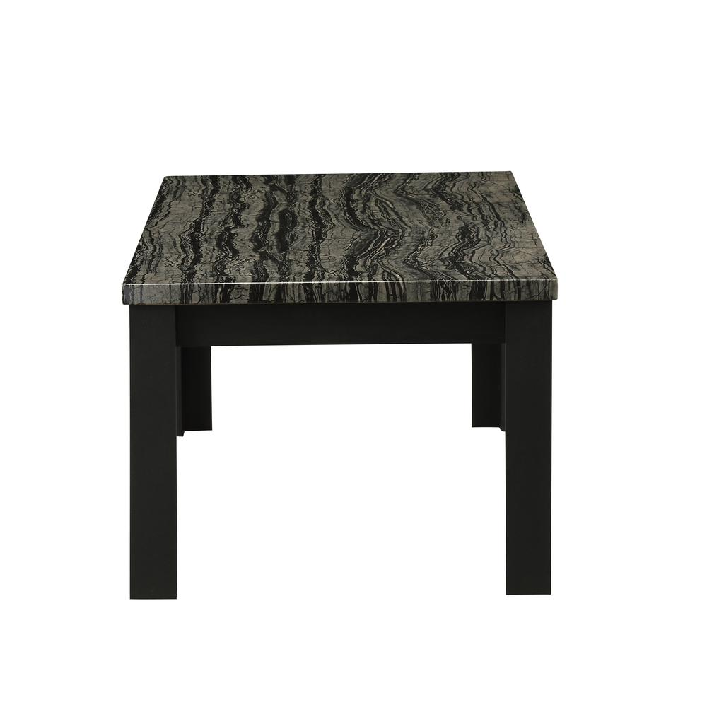 Carly 3Pc Pack Coffee/End Table Set, Faux Marble & Cherry. Picture 18