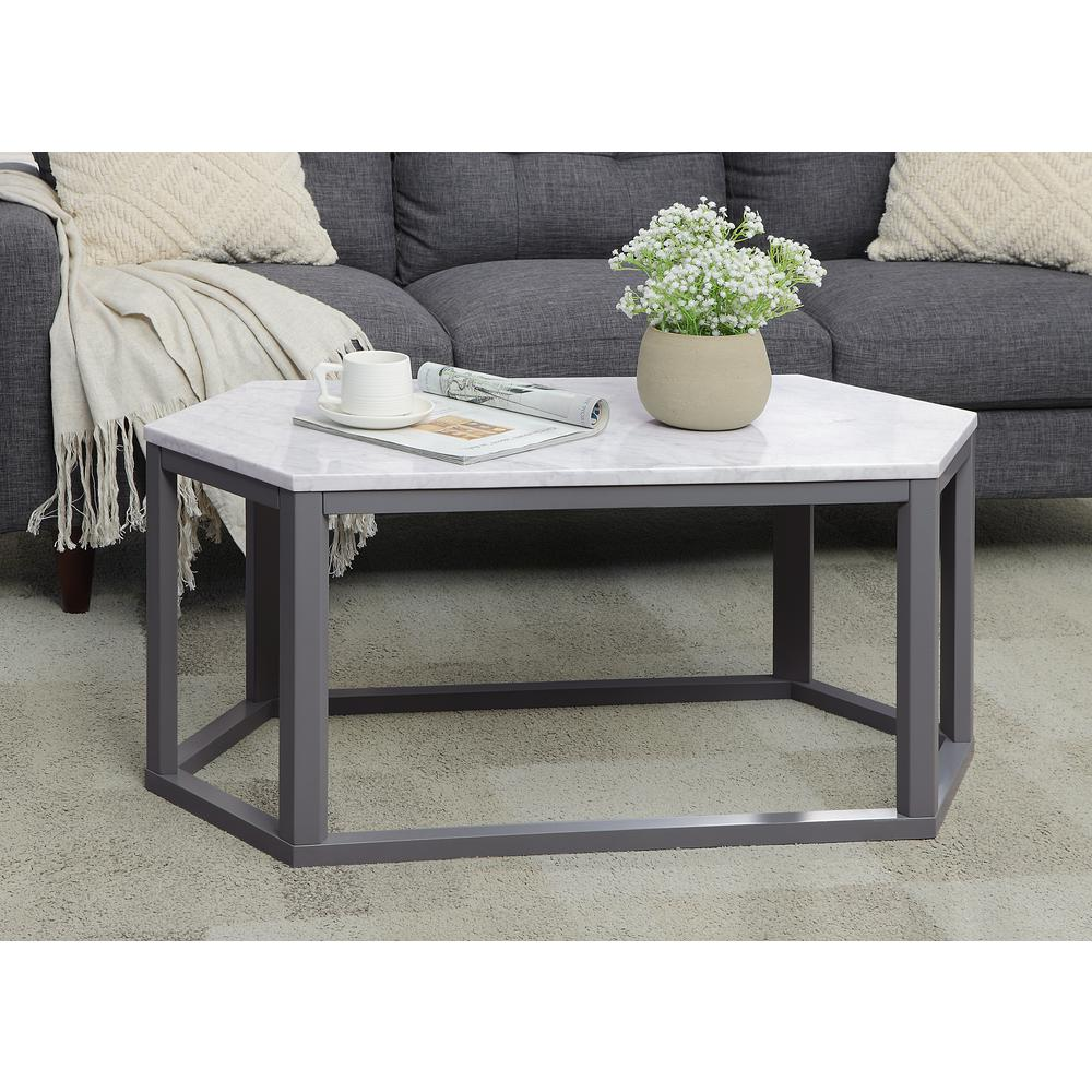 Reon Coffee Table, Marble & Gray. Picture 2
