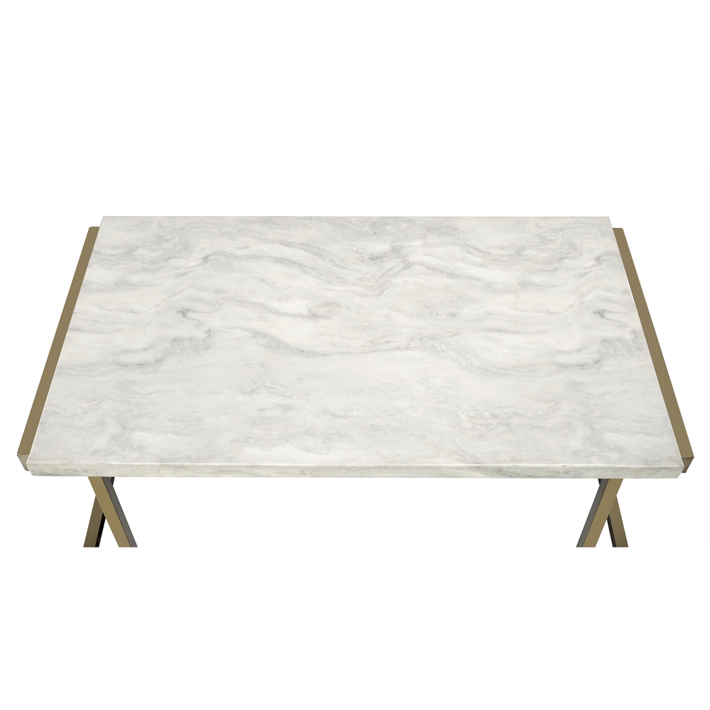 Kimball Marble Coffee Table: Boice II Sofa Table, Faux Marble & Champagne
