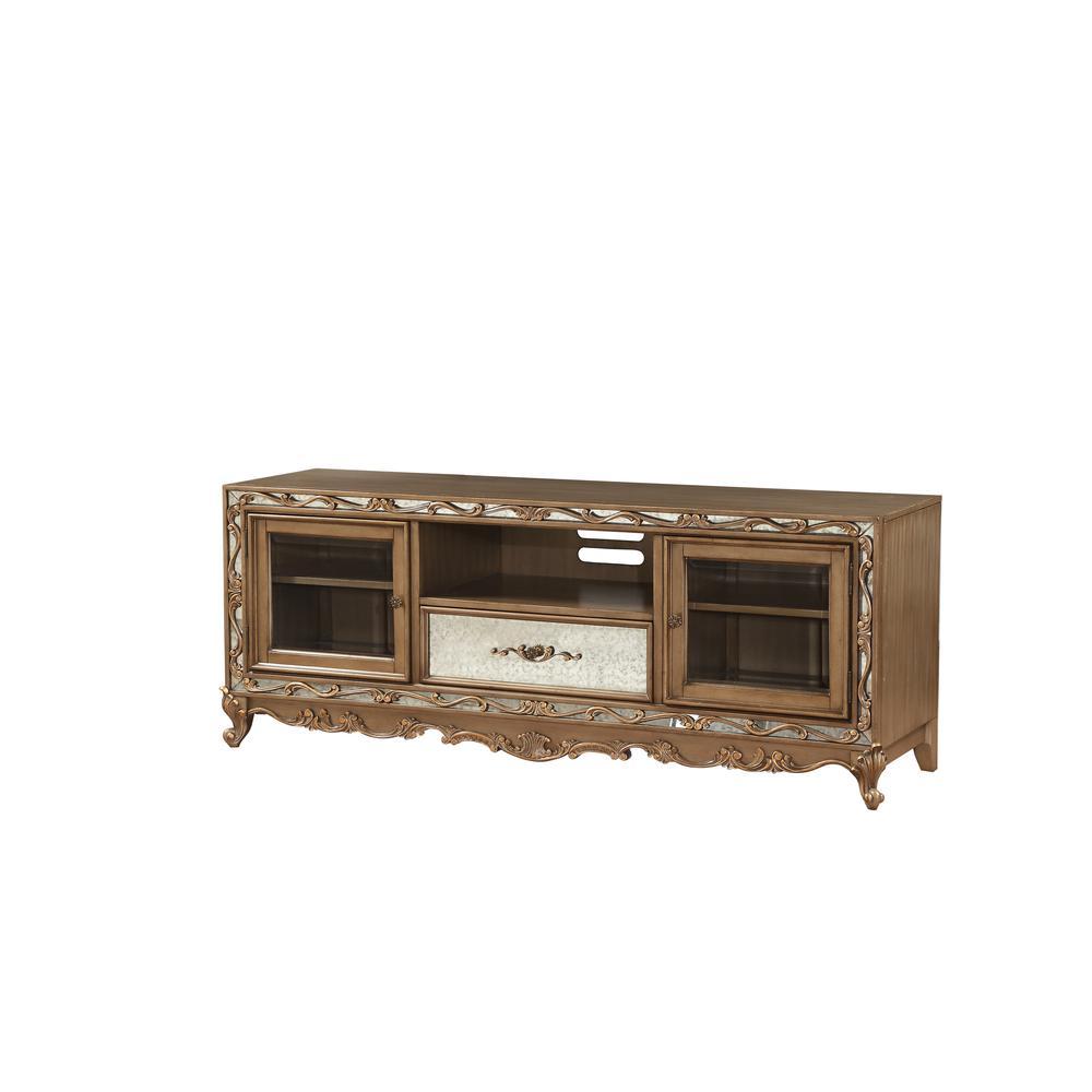 Orianne Queen Bed, Champagne PU & Antique Gold (1Set/4Ctn). Picture 38
