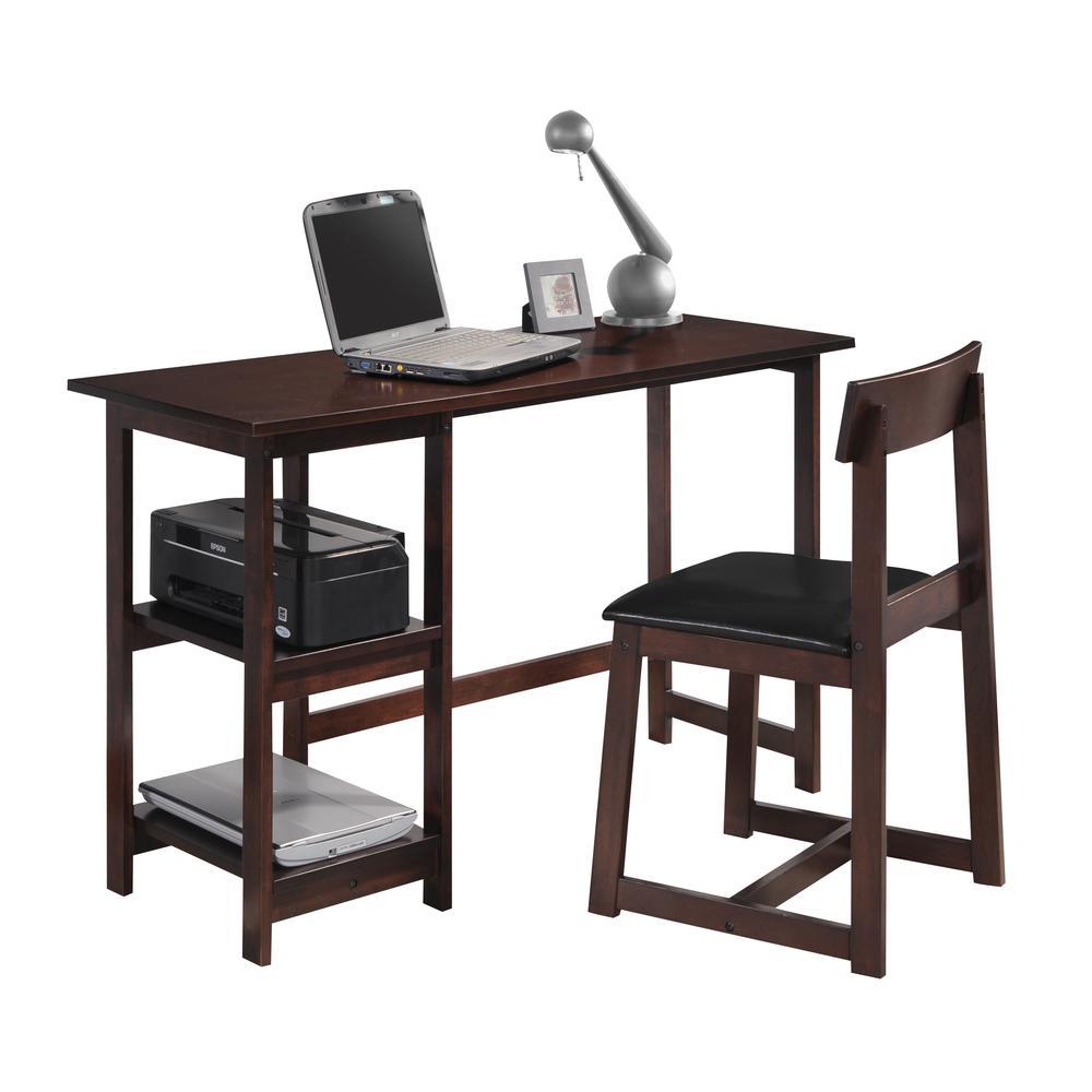 Vance 2Pc Pack Desk & Chair, Black PU & Espresso. Picture 1