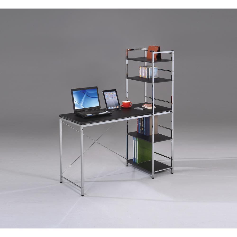 Elvis Computer Desk w/Shelves, Black & Chrome. Picture 1