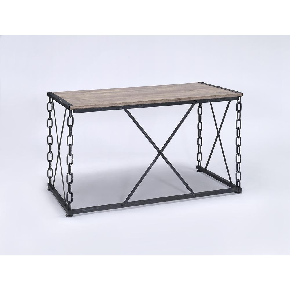 Jodie Desk, Rustic Oak & Antique Black. Picture 1