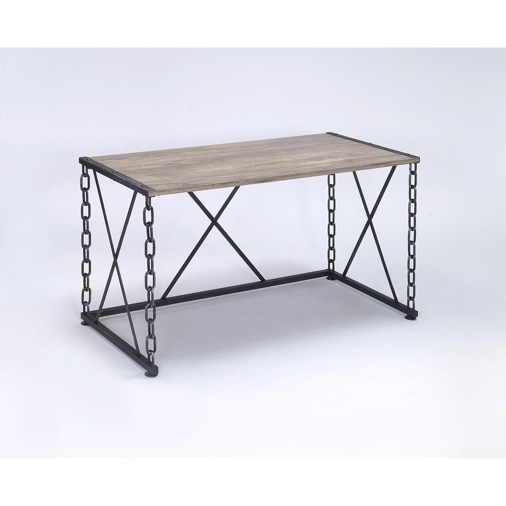 Jodie Desk, Rustic Oak & Antique Black. Picture 2