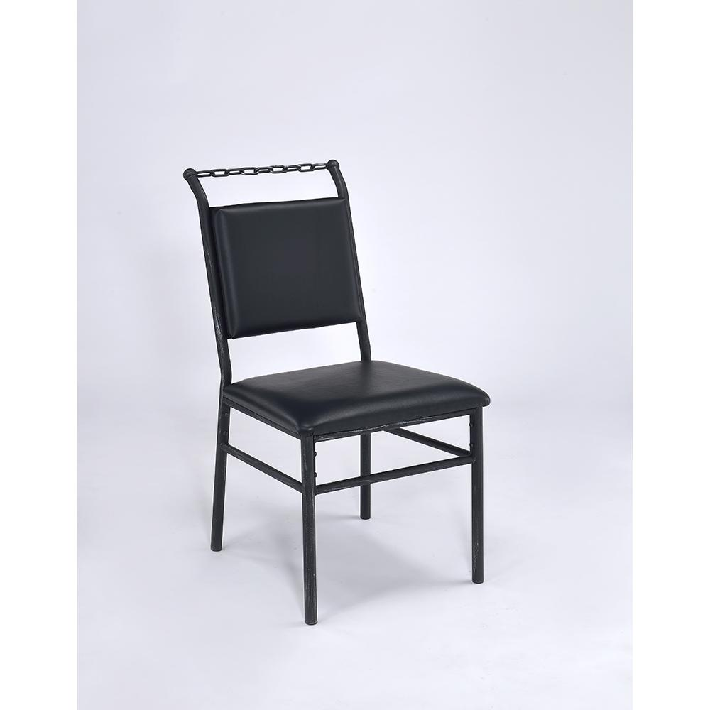 Jodie Chair, Black PU & Antique Black. Picture 1