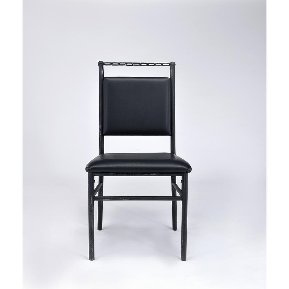 Jodie Chair, Black PU & Antique Black. Picture 3