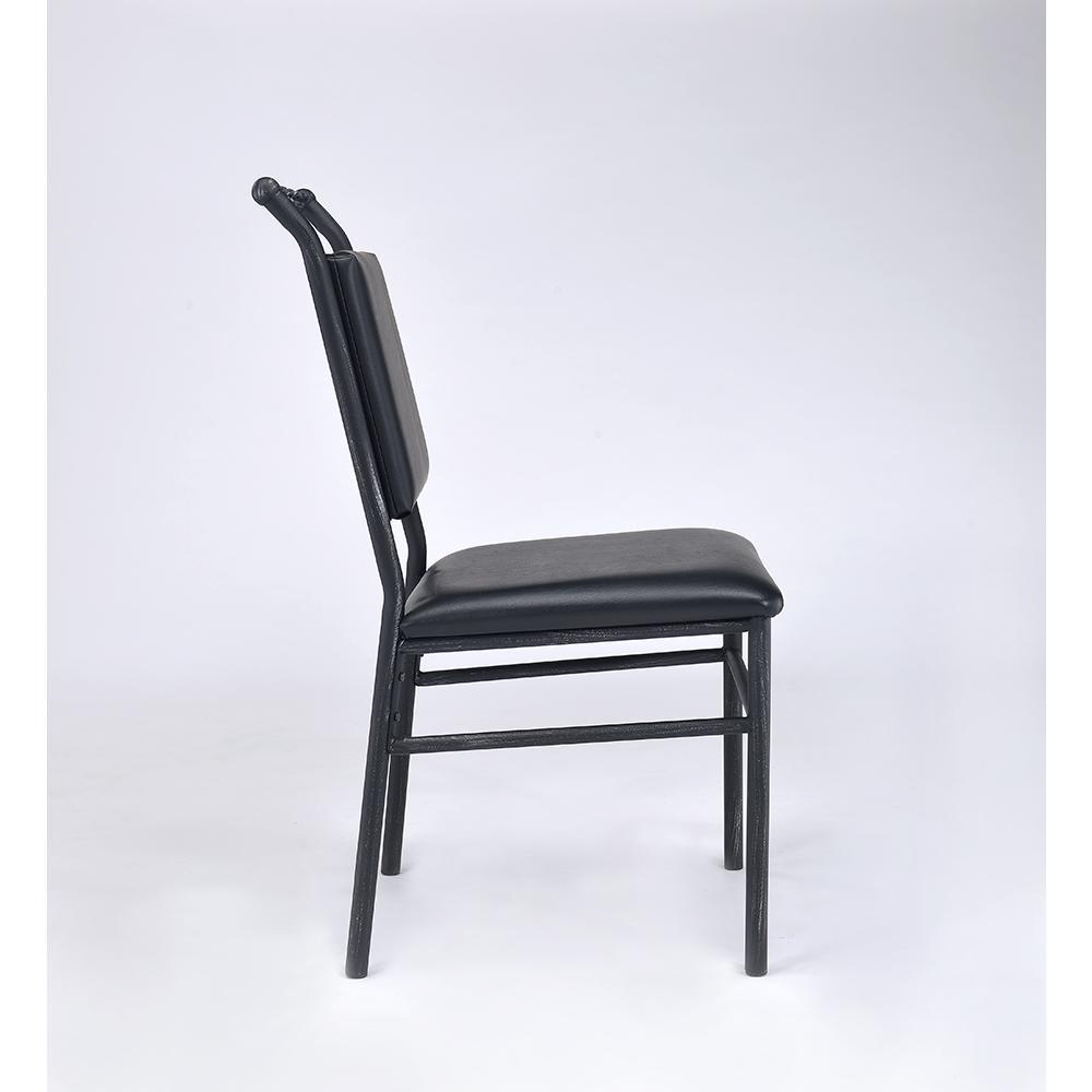 Jodie Chair, Black PU & Antique Black. Picture 4
