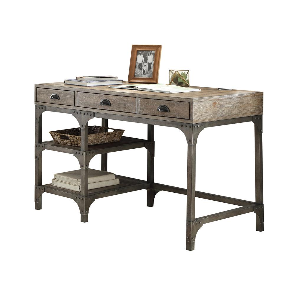 Gorden Desk, Weathered Oak & Antique Silver. Picture 1