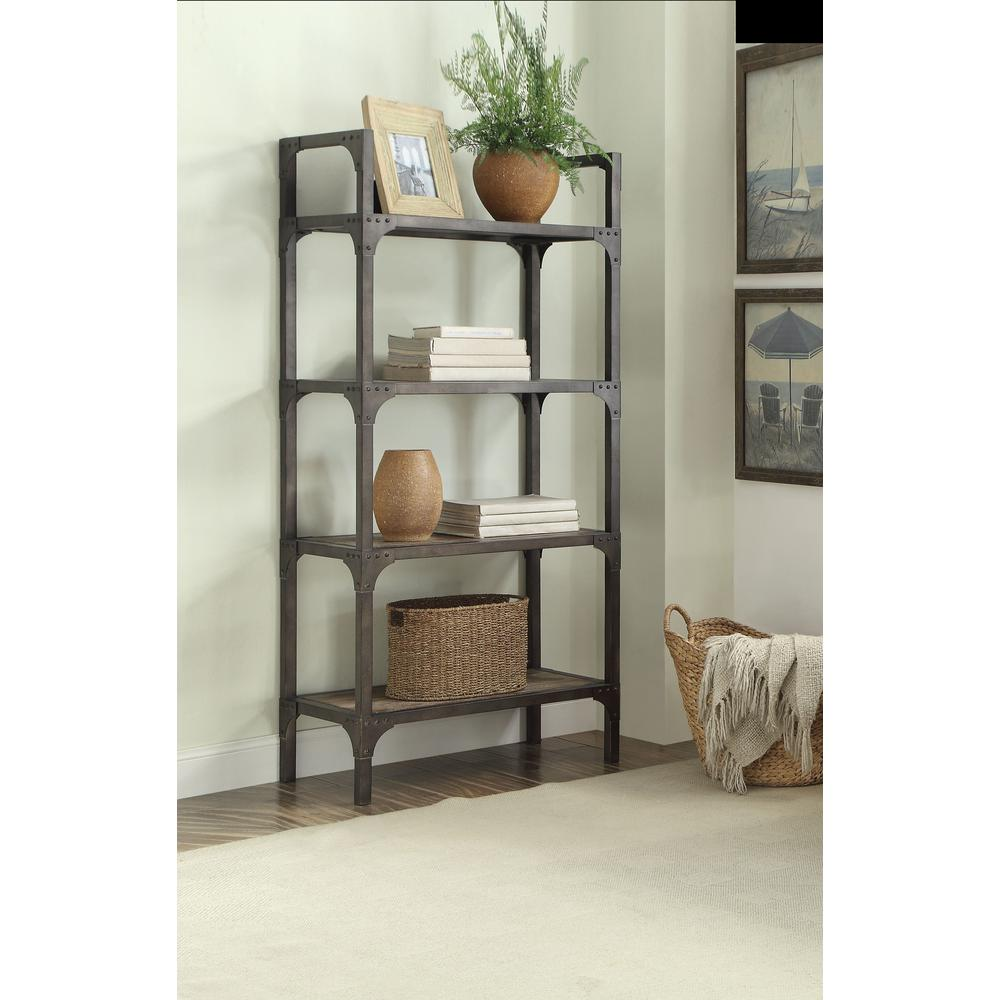Gorden Bookshelf, Weathered Oak & Antique Silver. Picture 1