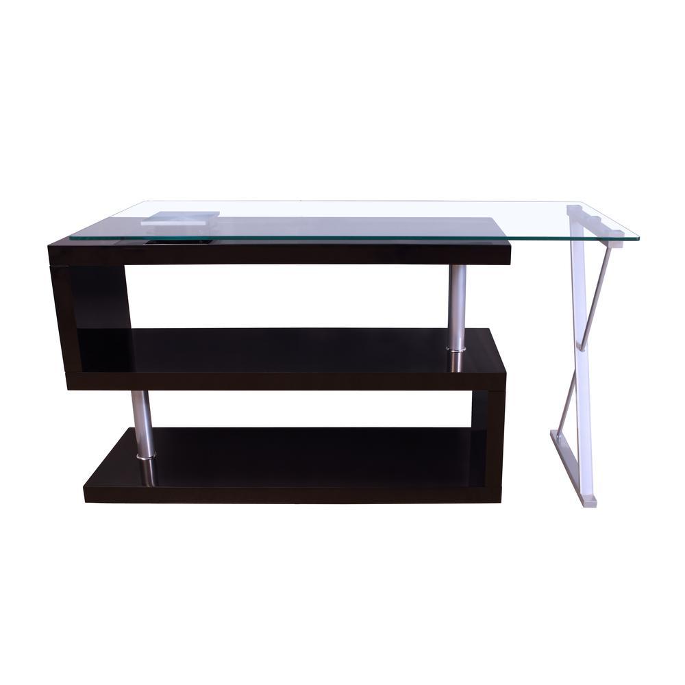 buck office desk clear glass black