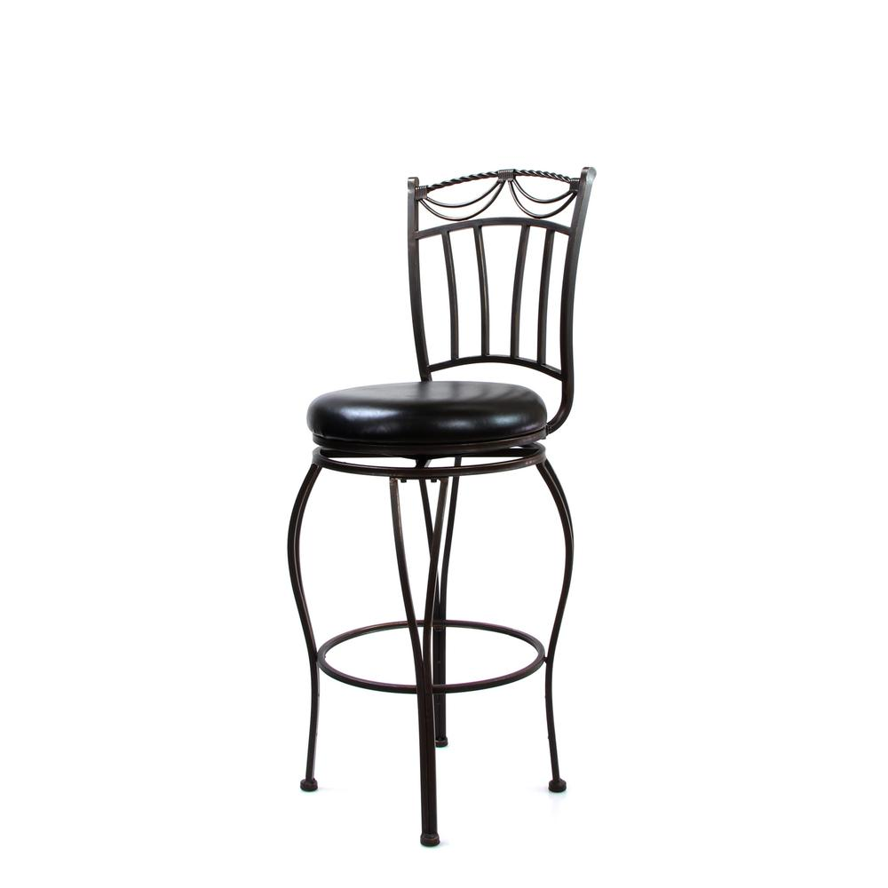 "Tavio Bar Chair w/Swivel (Set-2), Black PU & Antique Bronze, 29"" Seat Height. Picture 1"