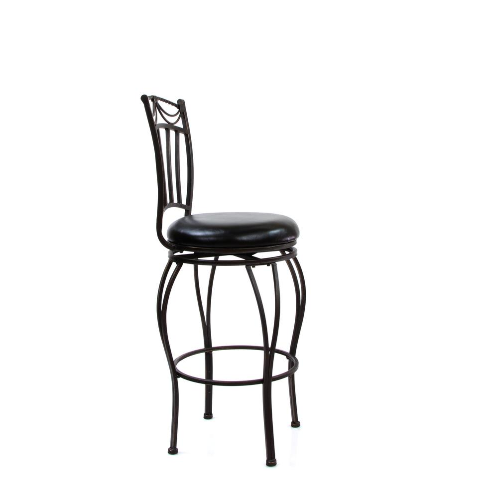 "Tavio Bar Chair w/Swivel (Set-2), Black PU & Antique Bronze, 29"" Seat Height. Picture 3"