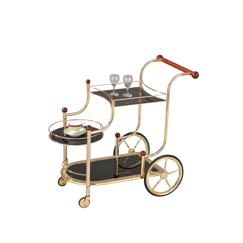 Lacy Serving Cart, Gold Plated, Cherry Wood & Black Glass. Picture 1