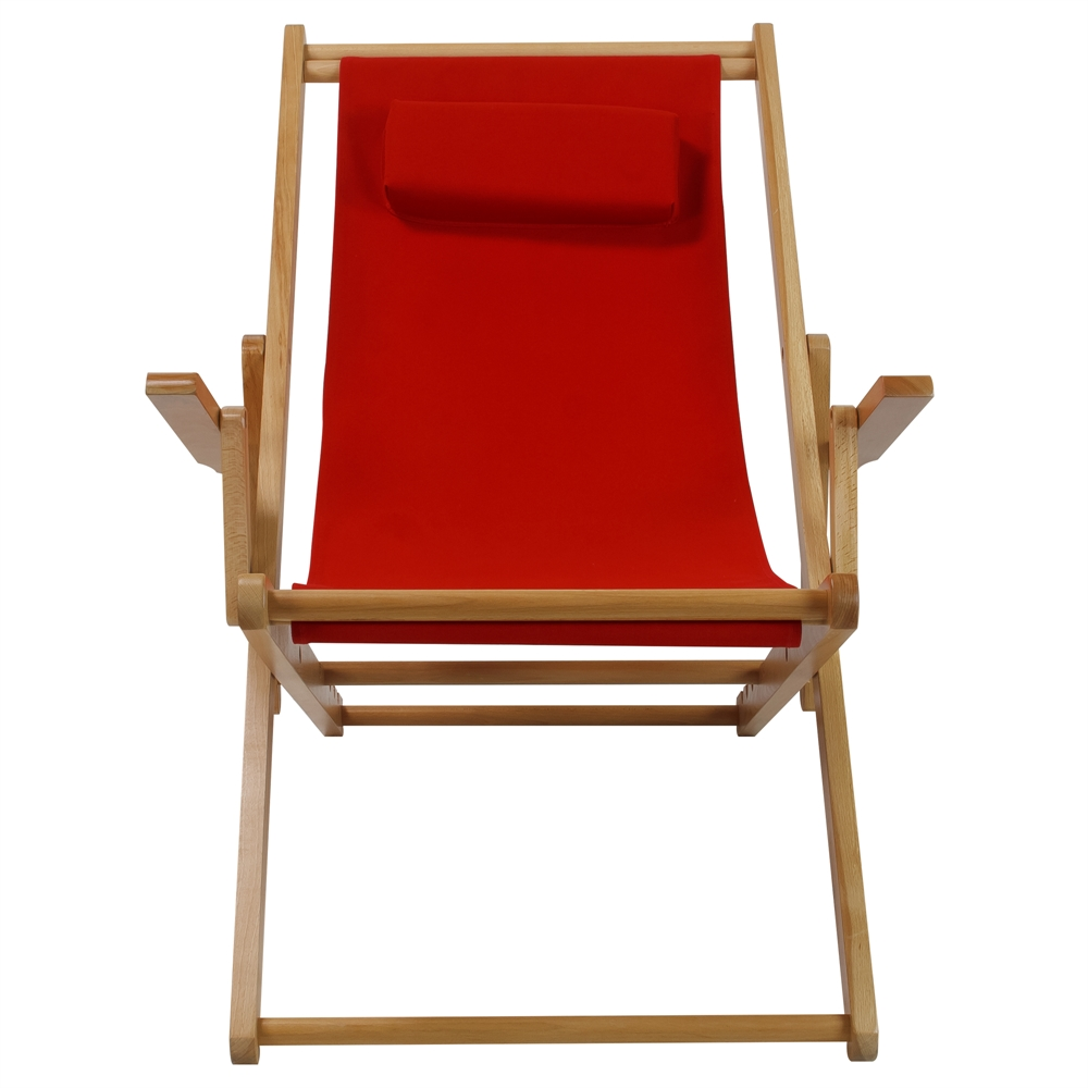 Sling Chair Natural Frame Red Canvas