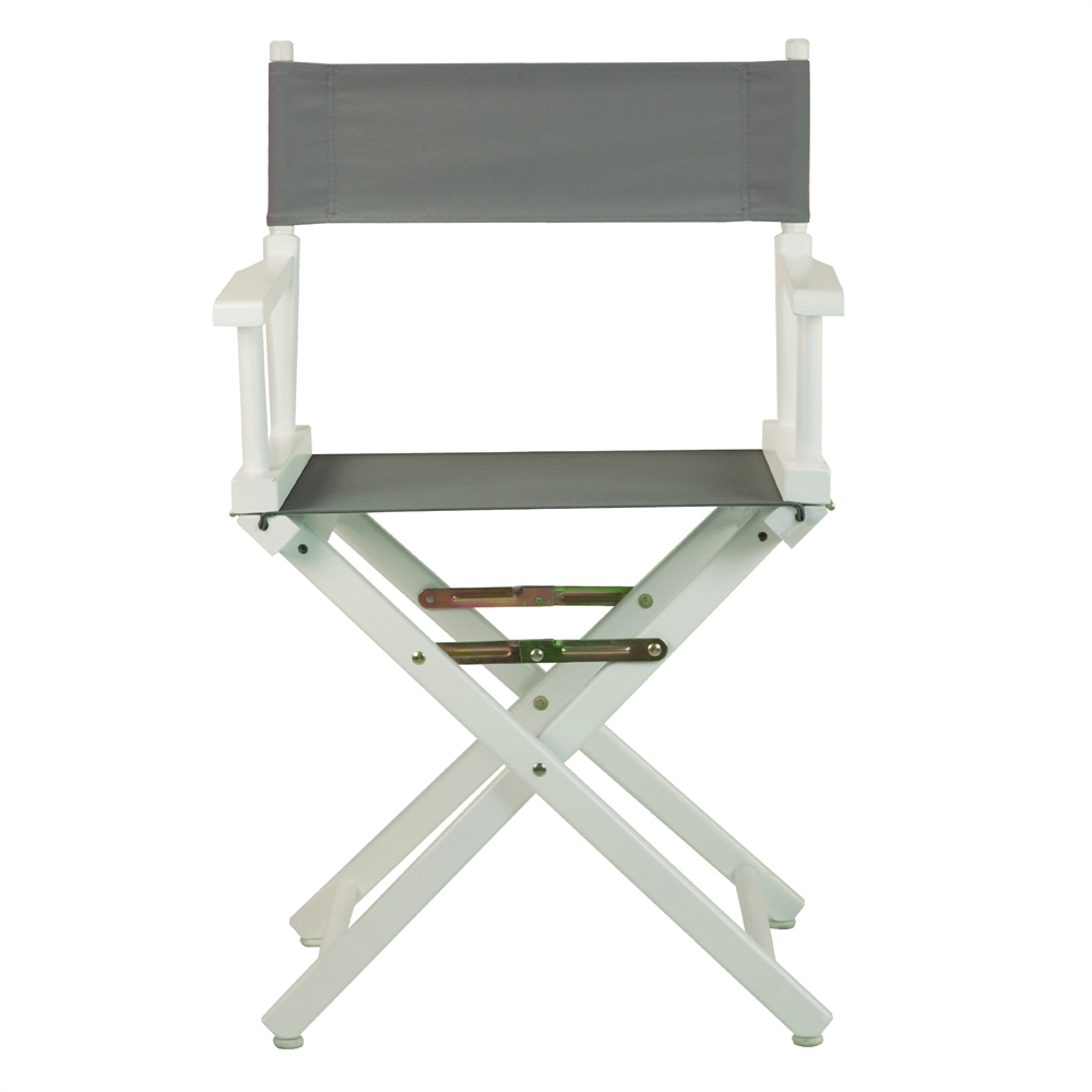 18 Quot Director S Chair White Frame Gray Canvas