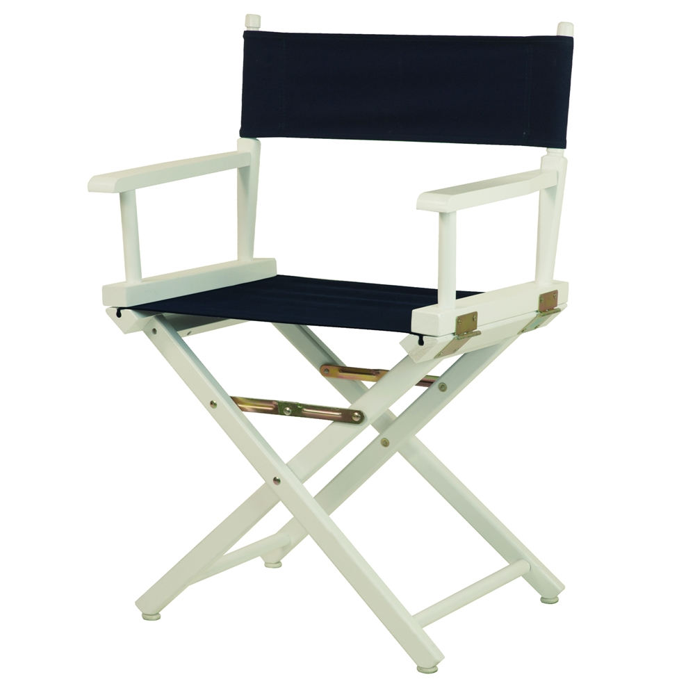 18 Quot Director S Chair White Frame Navy Blue Canvas