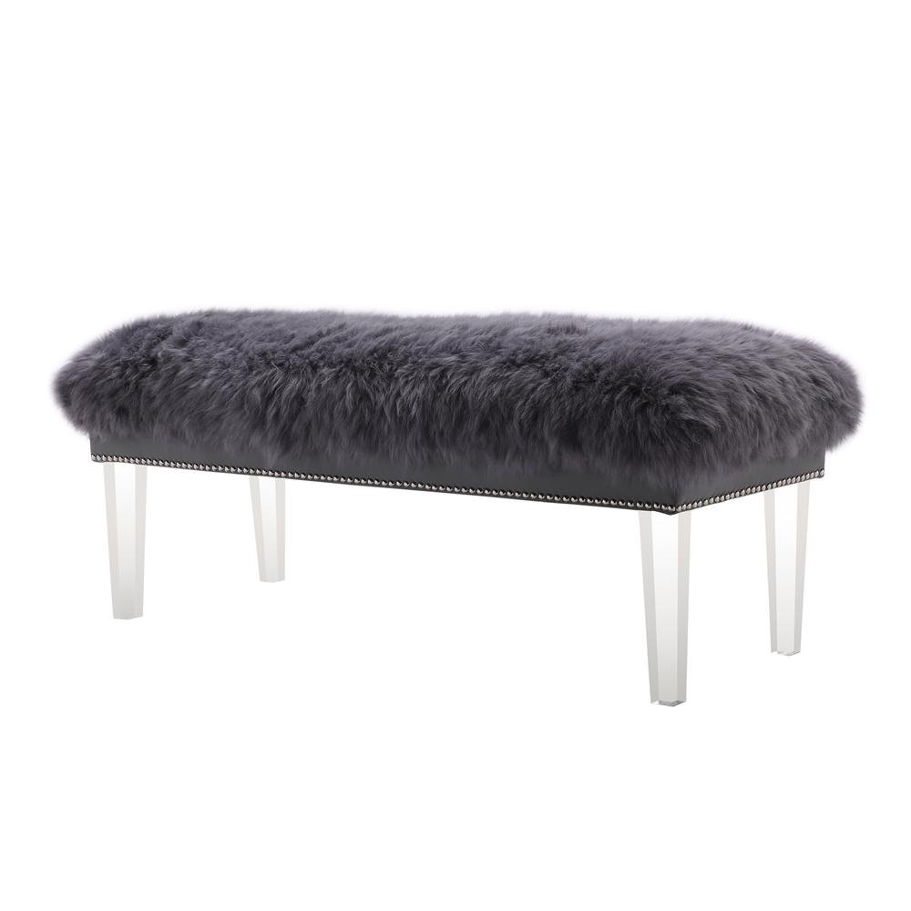 Luxe Grey Sheepskin Lucite Bench