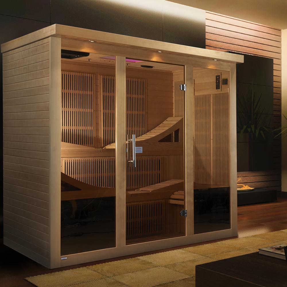 """Golden Designs """"Monaco"""" 6-person Near Zero EMF Far Infrared Sauna Canadian Hemlock"""