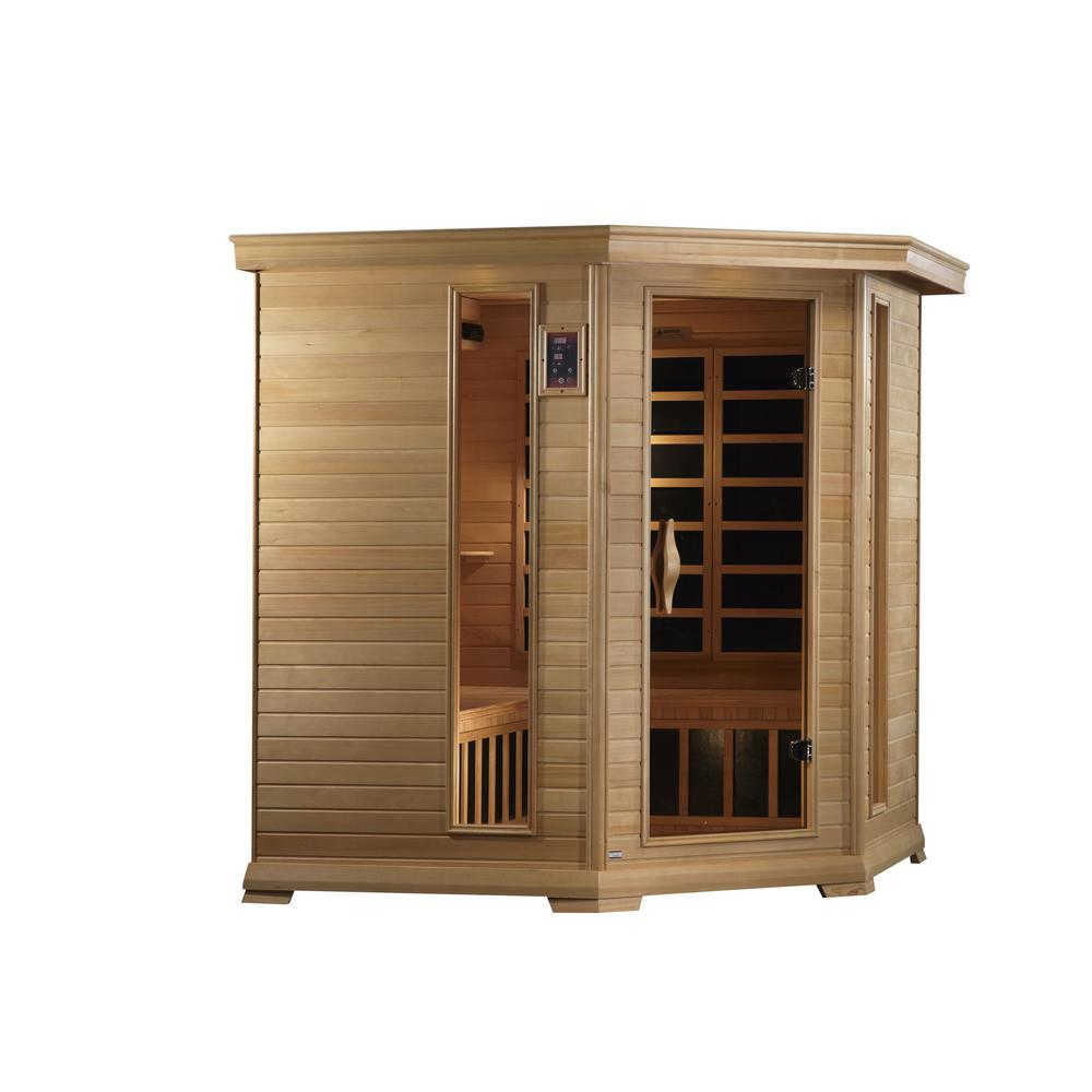 "Golden Designs ""Monte Carlo"" 4-5-person Corner Near Zero EMF Far Infrared Sauna Canadian Hemlock. Picture 1"