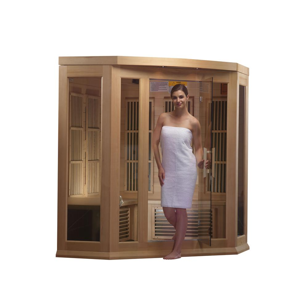 Maxxus 3 Per Corner Low EMF FAR Infrared Carbon Canadian Hemlock Sauna. Picture 3