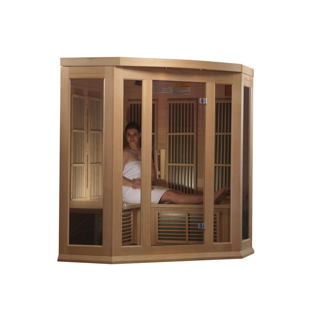 Maxxus 3 Per Corner Low EMF FAR Infrared Carbon Canadian Hemlock Sauna. Picture 4