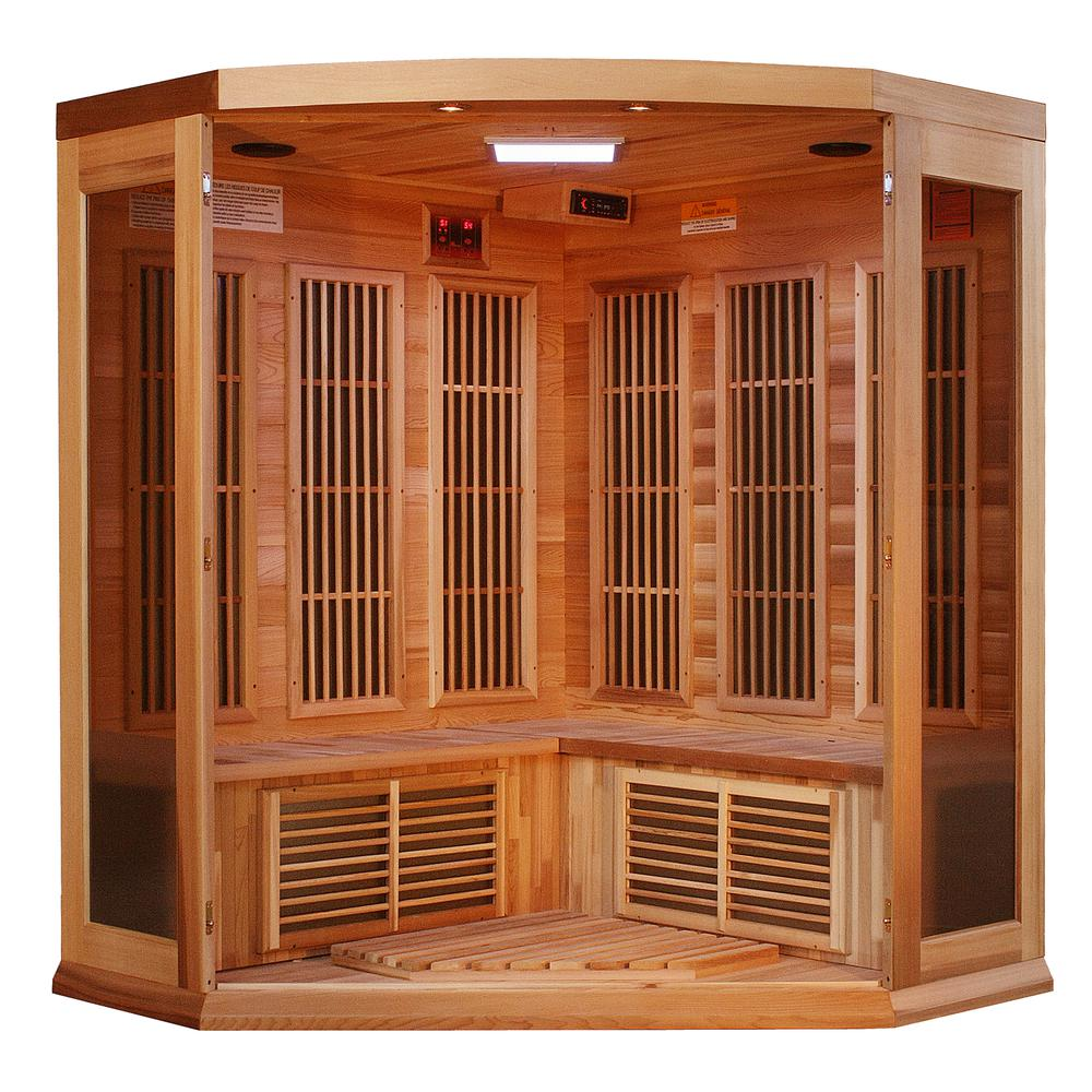 Maxxus 3 Per Low EMF FAR Infrared  Carbon Corner Canadian Red Cedar Sauna