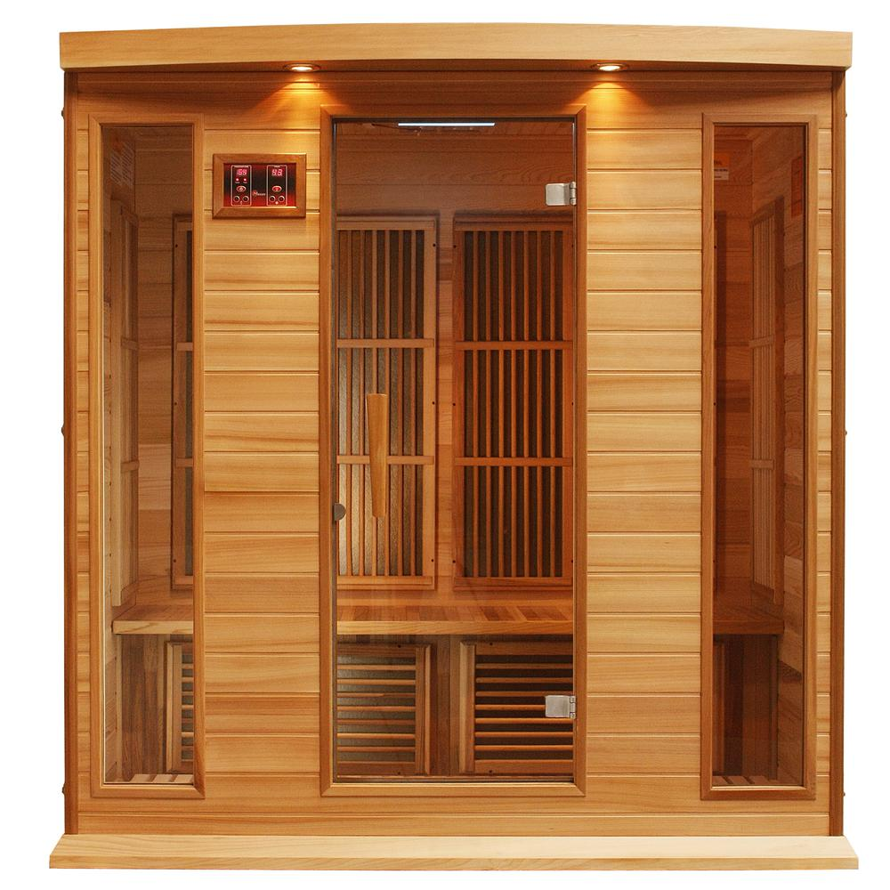 Maxxus 4 Per Low EMF FAR Infrared Carbon Canadian Red Cedar Sauna. The main picture.