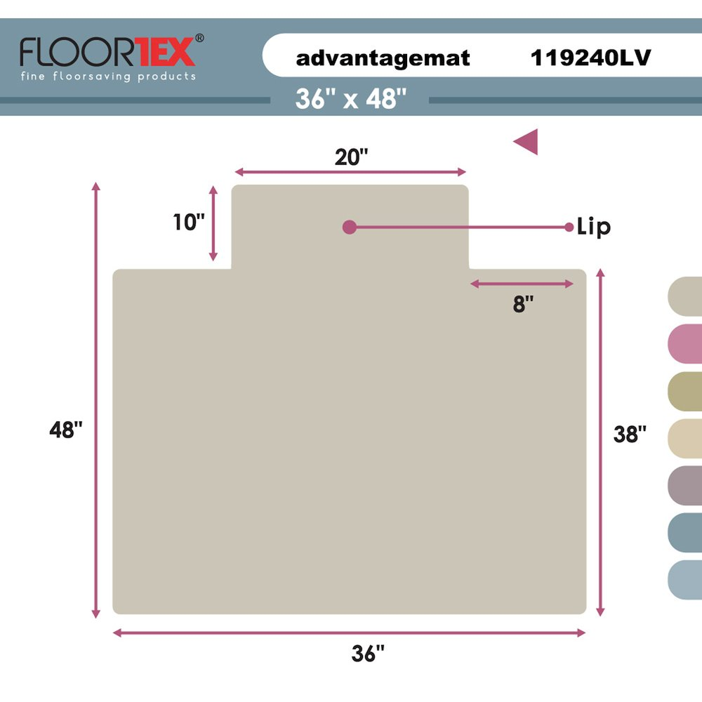 """Cleartex Advantagemat, PVC Clear Chair Mat, for plush pile carpets (over 3/4""""), Rectangular with Lip, Size 36"""" x 48"""". Picture 2"""